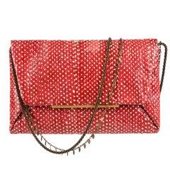 "LANVIN ""Mai Tai"" Red Genuine Python Snakeskin Envelope Clutch Handbag Purse"