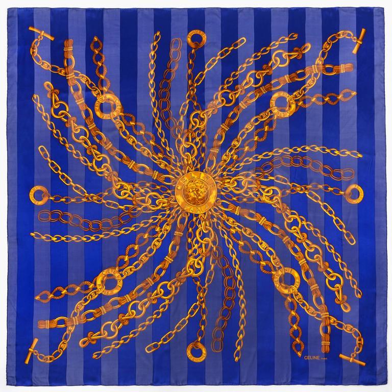 CELINE X-Large Blue Gold 100% Silk Striped Chain Medallion Print Scarf Wrap