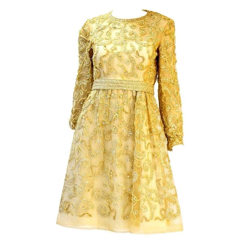 1966 Malcolm Star Embroidered Gold Coctail Dress For Sale