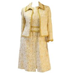 1960's Mollie Parnis Gold and Cream Dress Suit