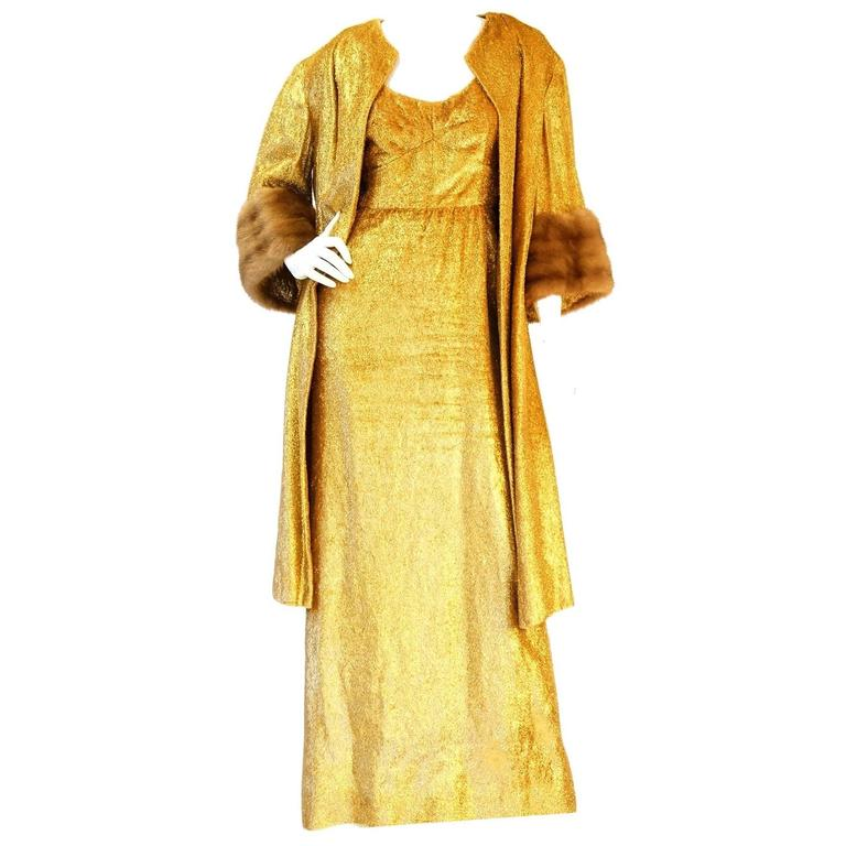 Rare 1960s Norman Hartnell Gold Lame and Mink Dress and Coat