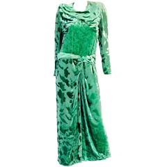 Vintage Galanos Green Crushed Velvet Evening Dress