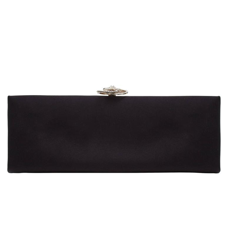 Chanel Black Satin Clutch