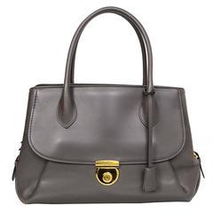 Salvatore Ferragamo Grey Leather East/West Fiamma Tote Bag rt. $2,600