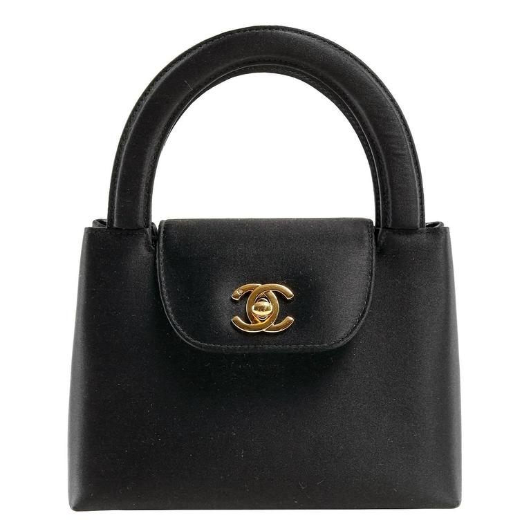 Chanel Black Satin Evening Bag 1