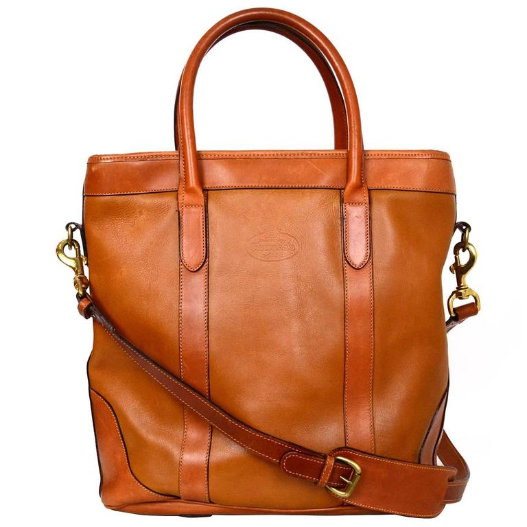 Church's Brown Leather Satchel Bag w/ Strap For Sale at 1stdibs