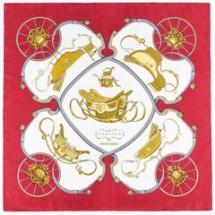 """HERMES c.1974 Philippe Ledoux """"Springs"""" Carriage Wheel 100% Silk Scarf With Box"""