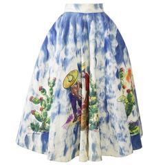 1950s Vintage Handpainted Mexican Souvenir Full Circle Skirt