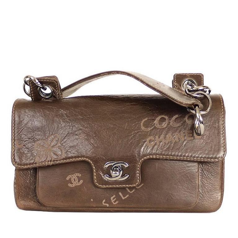 3196ec3f19a3 Vintage Chanel Brown Leather Graffiti Classic Shoulder Bag Rare For Sale