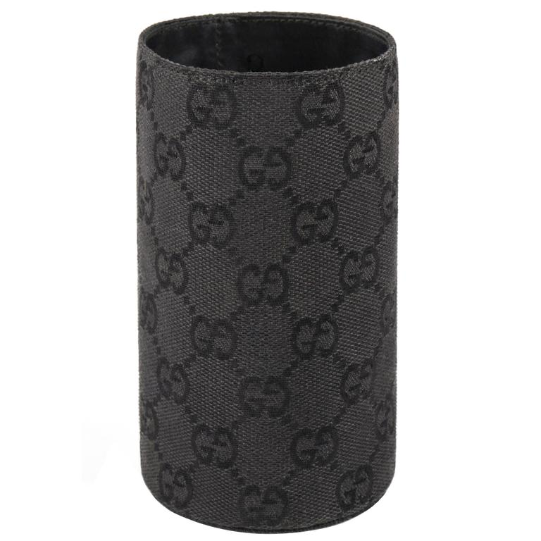 GUCCI Signature GG Gucissima Print Black Canvas Coozy Koozie Ltd Edition Gift