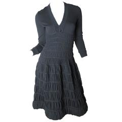 Alaia Black Knit Pleated Dress
