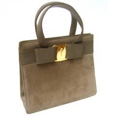Salvatore Ferragamo Italy Mocha Brown Suede Handbag c 1990