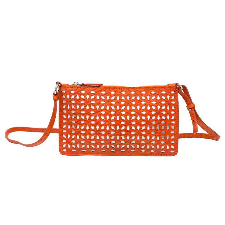Alaia Orange Laser Cut Shoulder Bag