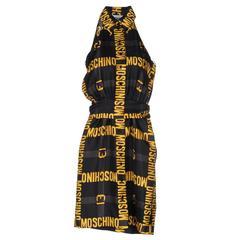 Moschino Couture NEW Gold Black 'Moschino' Logo Silk Button Up Day Night Dress