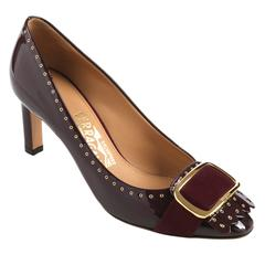 SALVATORE FERRAGAMO Burgundy Gold Buckle Fringe Patent Leather Pumps Heels Shoe