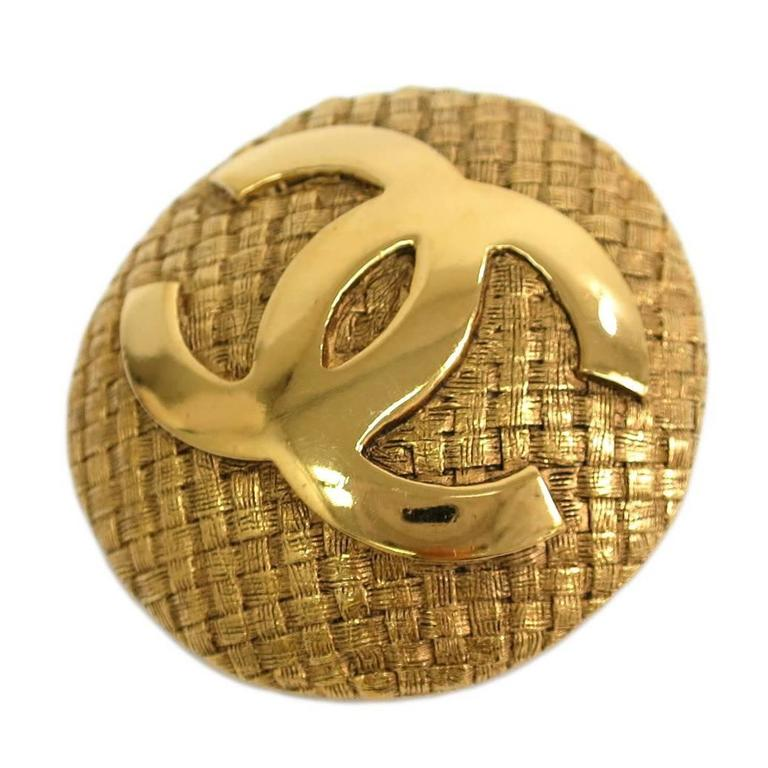 Chanel Vintage Gold CC Charm Textured Dome Pin Brooch