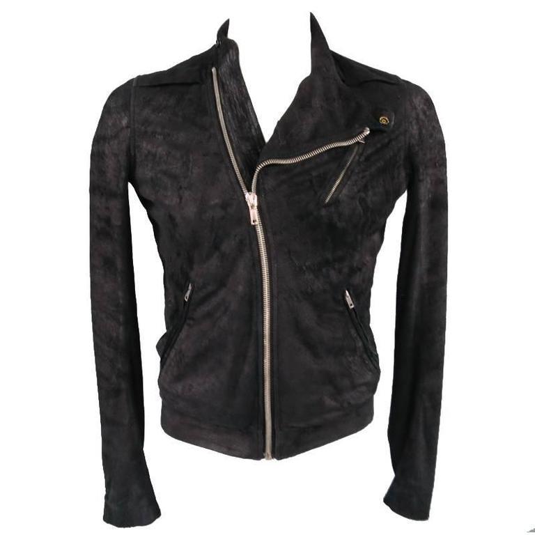 RICK OWENS 38 Black Distressed Sueded Asymmetrical Zip Leather Biker Jacket