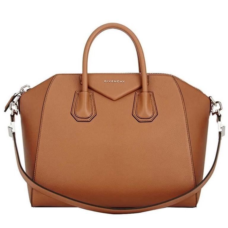 Givenchy Antigona Medium Calfskin Duffle Shoulder Bag, Caramel For Sale