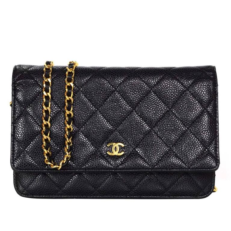 Chanel Black Caviar Leather WOC Wallet On Chain Crossbody Bag GHW For Sale da486915cfc5