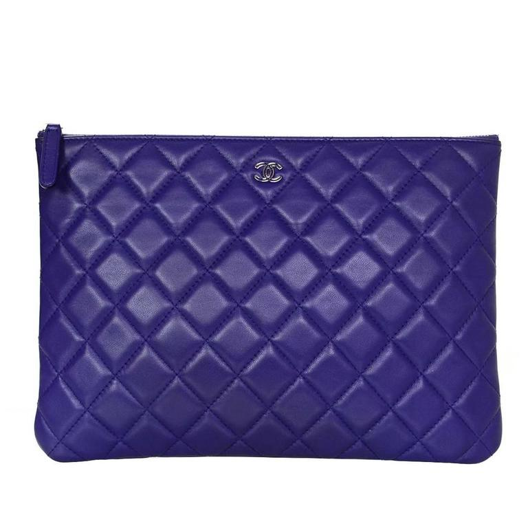Chanel Purple Lambskin Leather Quilted Medium O Case Clutch At 1stdibs
