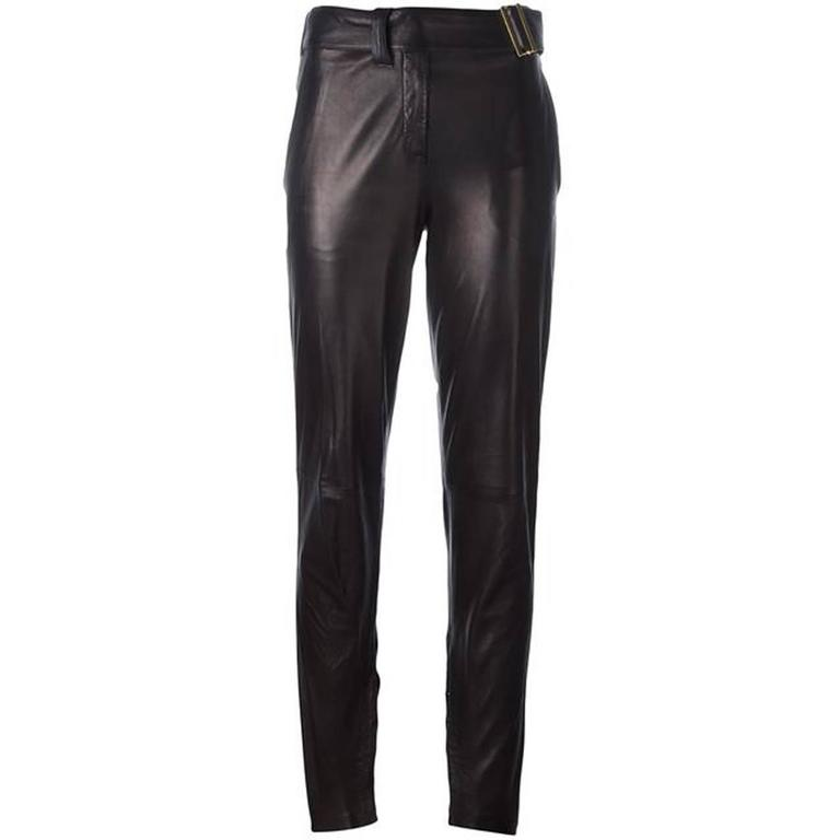 Saint Laurent Black Metallic Lambskin Trousers