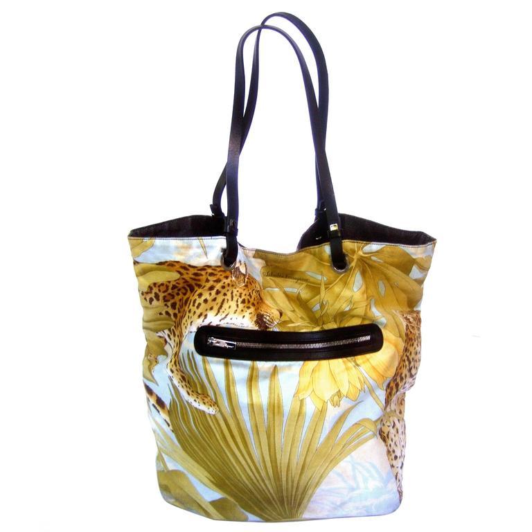 Salvatore Ferragamo Jungle Print Cloth Tote Bag c 1990