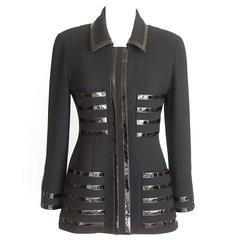 Chanel Jacket Black Patent Leather Trim Vintage 40 / 6