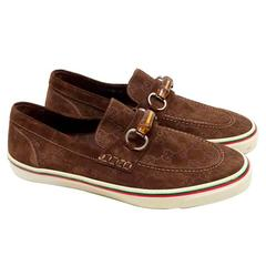 Gucci Brown Suede Monogram Loafers