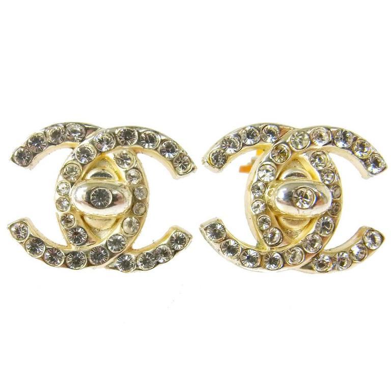 chanel vintage silver signature charm stud earrings