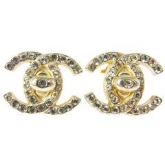Chanel Vintage Silver Jewel Signature Charm Stud Earrings