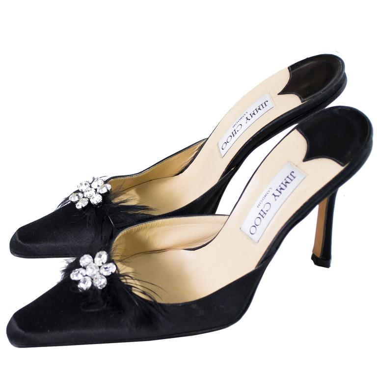 Jimmy Choo Black Satin Shoes Rhinestones Feathers Heels Size 37 For Sale