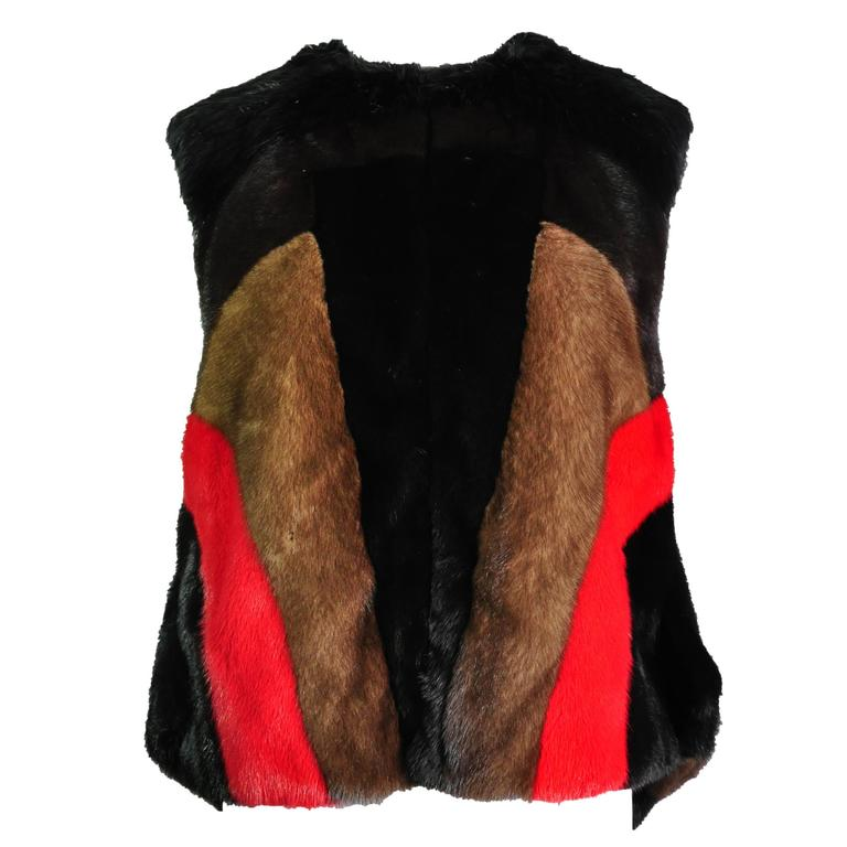Givenchy by Riccardo Tisci Asymmetric Multi-color dyed Mink Vest For Sale