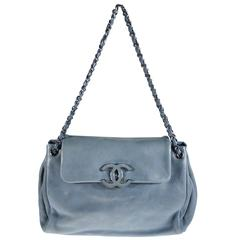 Chanel Large Blue Lilac Smooth & Soft Leather Flap Handbag