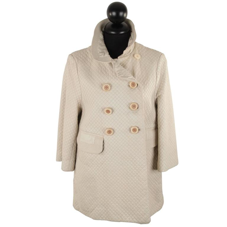 CHLOE Ivory QUILTED Leather DOUBLE BREASTED COAT Jacket SIZE 40