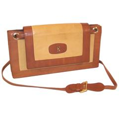 C.1970 Roberta Di Camerino Full Leather Envelope Style Handbag