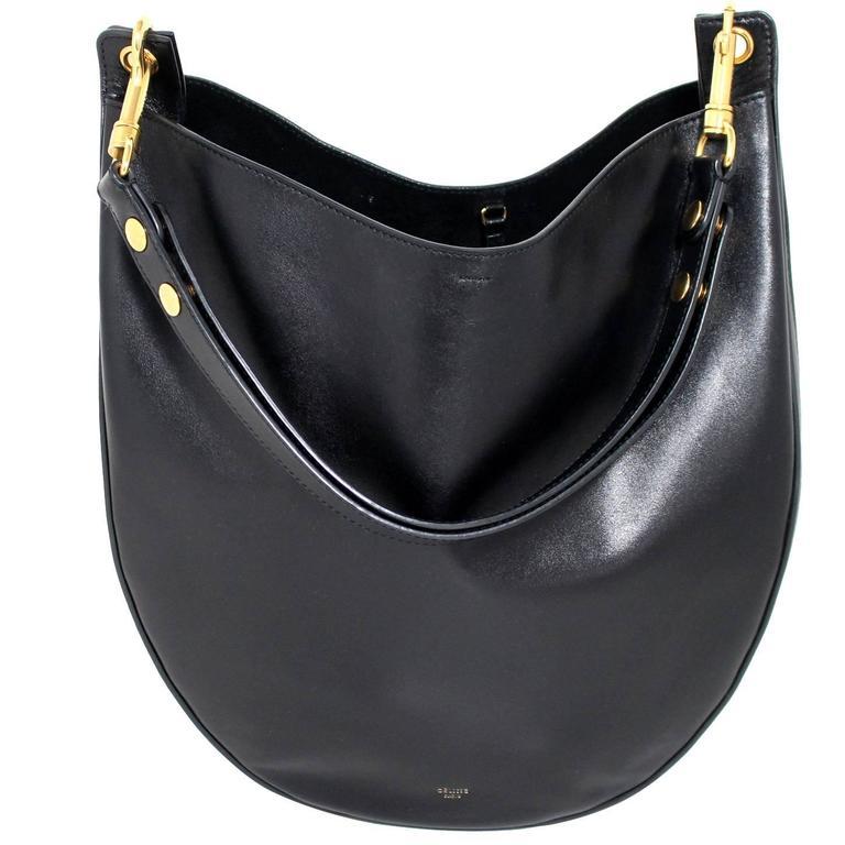Celine Black Smooth Leather Medium Hobo 1