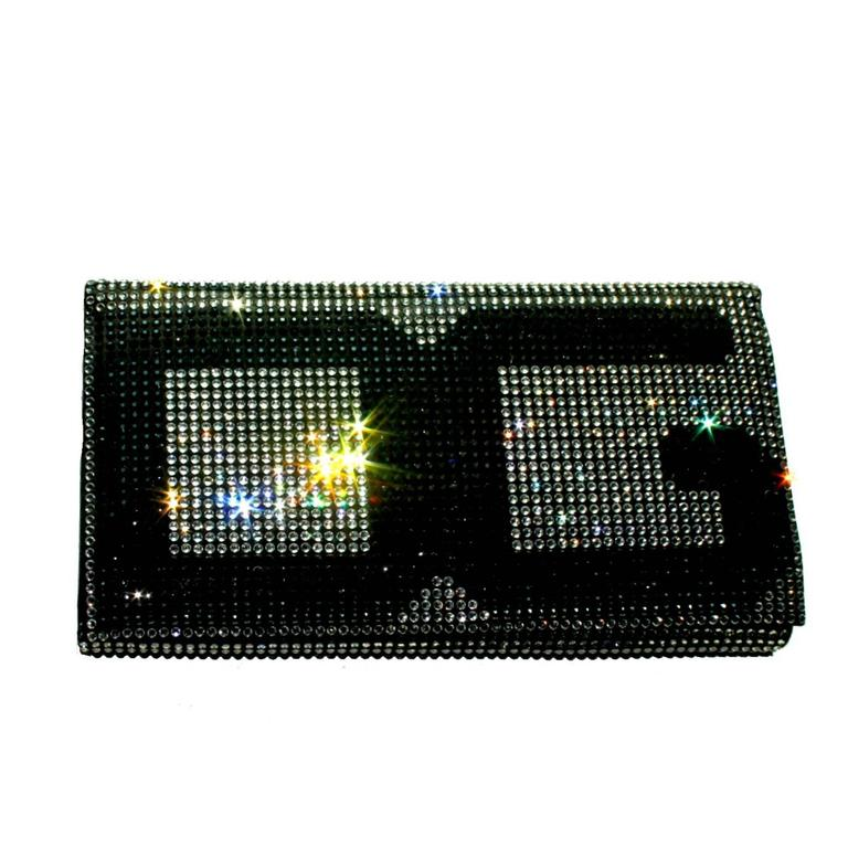 Stunning Dolce Gabbana Crystal Silk Evening Bag Clutch For Sale