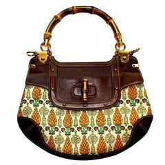 Gucci Pigna Pineapple Ananas Bamboo Canvas Shoulder Bag
