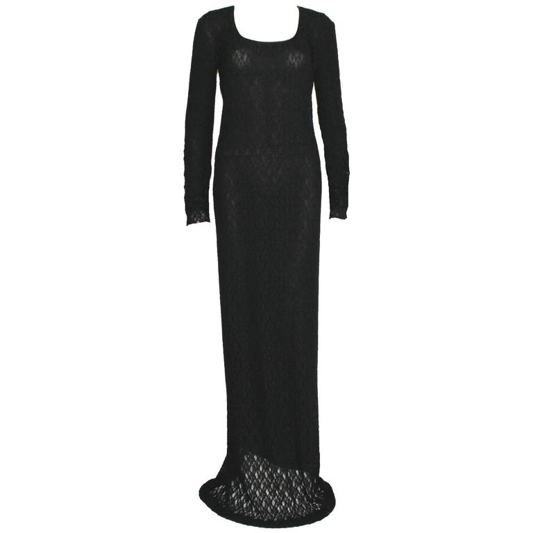 Vintage 1990s Dolce & Gabbana Black 3D Crochet Knit Evening Gown Dress For Sale