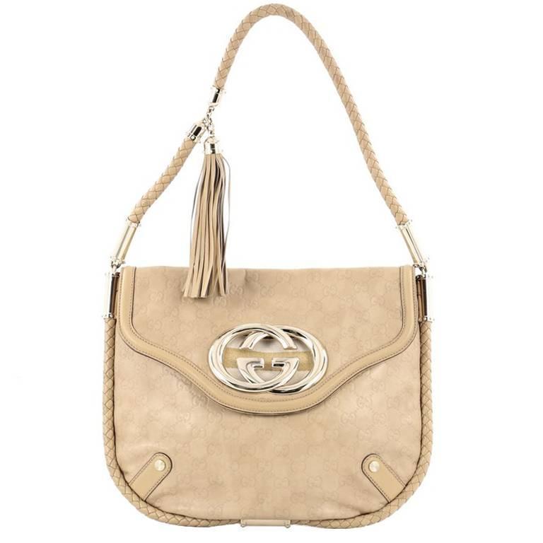 c2698a410e20 Gucci Britt Tassel Flap Bag Guccissima Leather Medium at 1stdibs