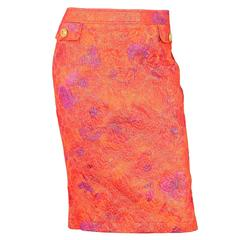 D&G Orange & Purple Brocade Skirt Sz 48