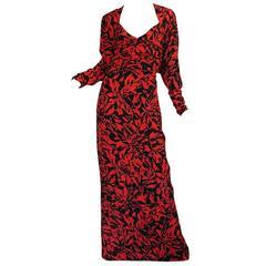 """1980s Nina Ricci Demi-Couture """"Haute Boutique"""" Silk Dress"""