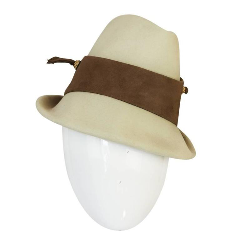 1960s Chic Taupe and Cream Christian Dior Fedora Hat