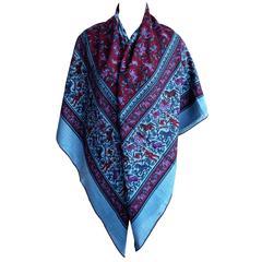 Hermes Giant Chasse en Inde Blue Cashmere Silk Shawl GM 140cm