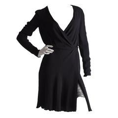 Vintage Valentino Boutique Black Silk Lace Under Skirt Long Sleeve LBD Cocktail
