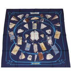 HERMES Silk Scarf Carnet de Bal Blue Latham 2007 90 cm