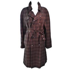 BURBERRY Chocolate Plaid Double Breast Trench Coat Size Large