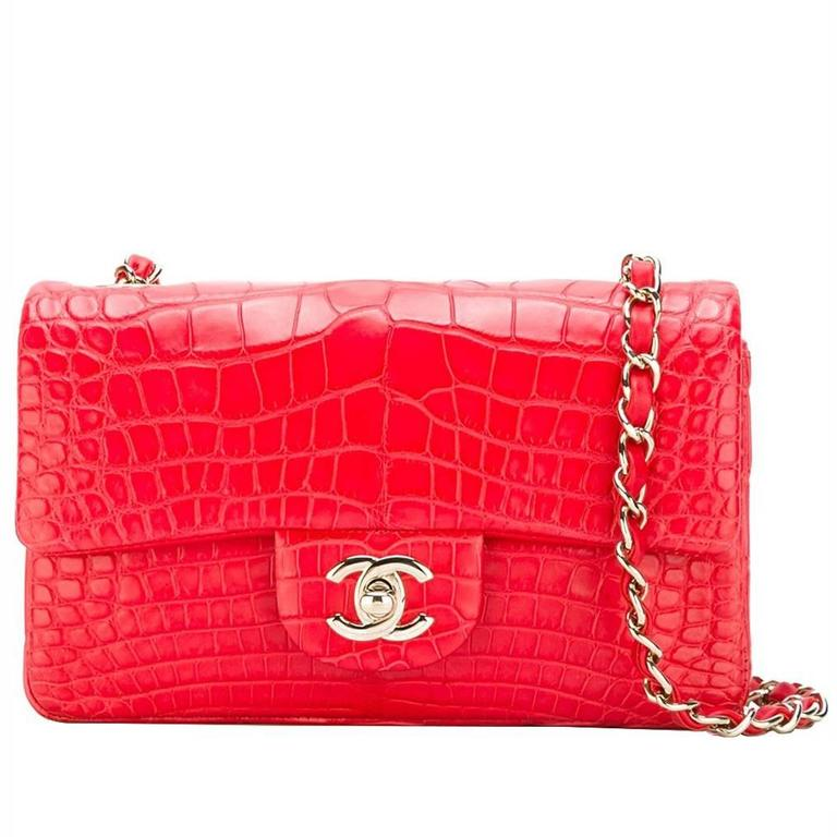 Chanel Red Crocodile 2 55 Classic Flap Handbag For