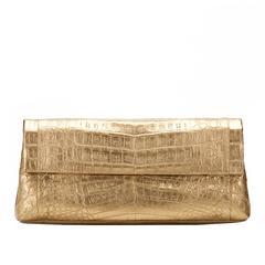 2000s Nancy Gonzalez Gold Crocodile Leather Clutch