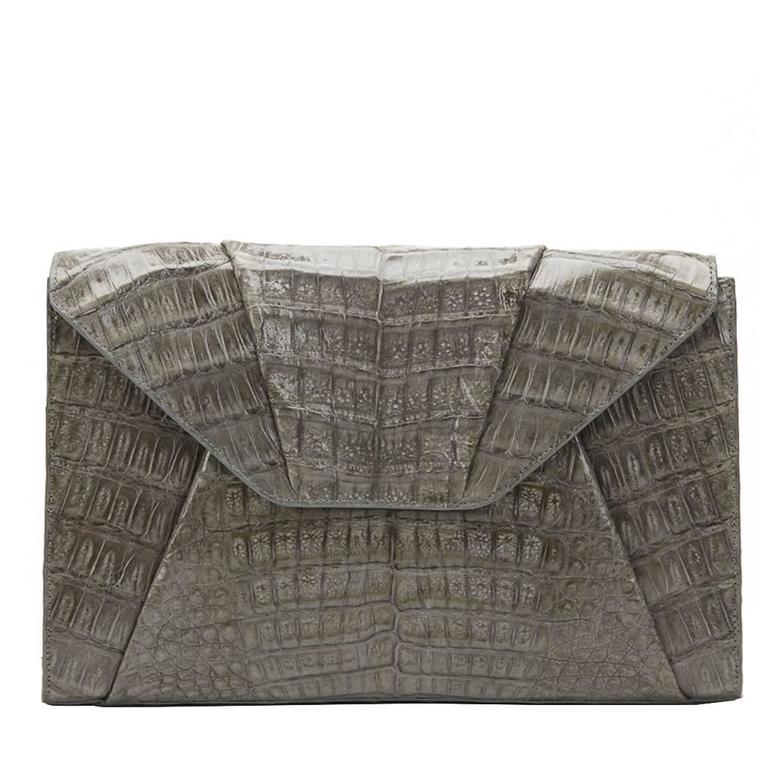2000s Nancy Gonzalez Grey Crocodile Leather Clutch-on-Strap 1